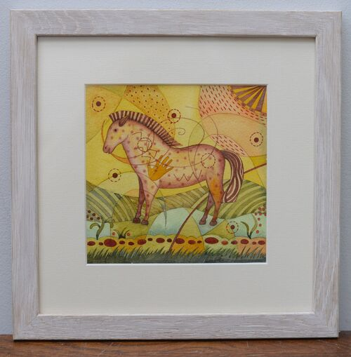 Crazy Horse. Framed Mixed media painting on paper