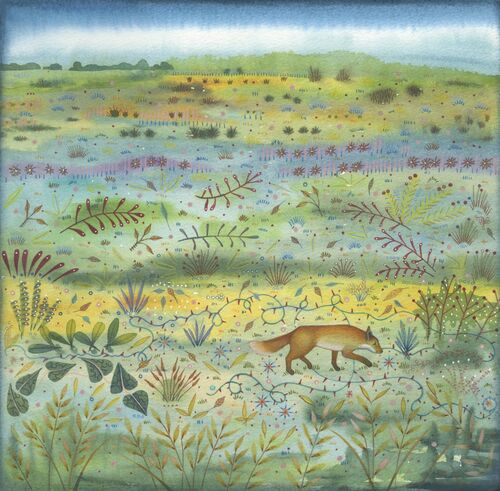 'Fox on the Heath' Mixed media painting (28 x 28cm)