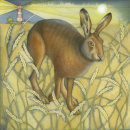 Hare in the Wheat Field.  (print and card)
