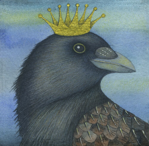 King of the Crows (9.5 x 9'5cm) Mixed Media