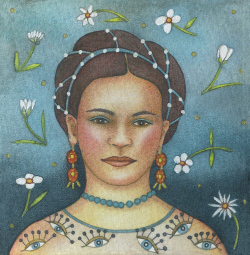 Miniature Frida (9.5 x 9'5cm) Mixed media on paper