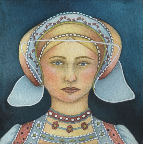 Miniature Portrait of a Lady (9.5 x 9.5cm) Mixed media on paper