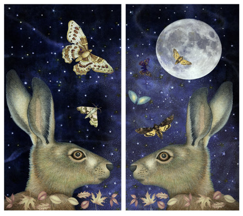 Moonlit Hare Diptych (digital collage)