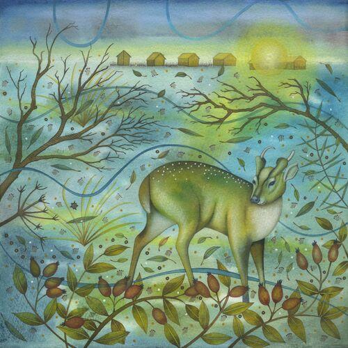 Muntjac on the Heath (Original Mixed Media Painting 28 x 28cm)