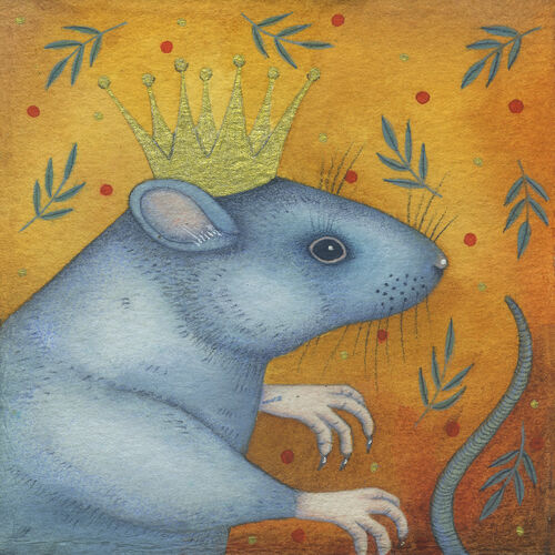 King Rat (9.5 x 9.5cm) Mixed media painting on paper