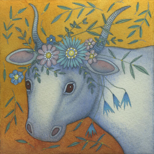 Sacred Cow (9.5 x 9.5 cm) Mixed media painting on paper