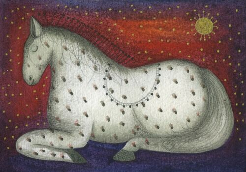 Sleeping Horse (9.5 x 9'5cm) Mixed media painting on paper