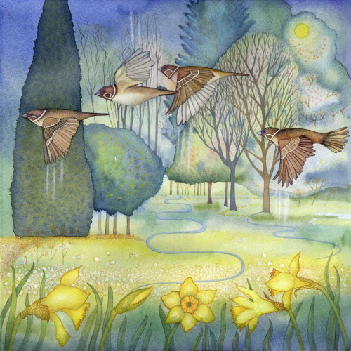 Sparrows in the Park (print and card)