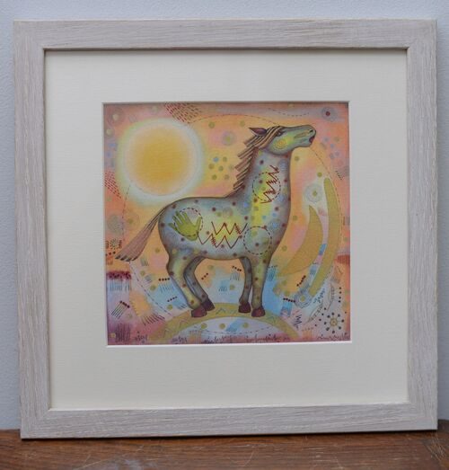 Spirit Horse. Framed mixed media painting on paper