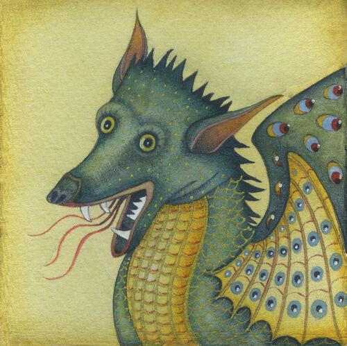 St Margaret's Dragon (9.5 x 9.5cm) Mixed media on paper