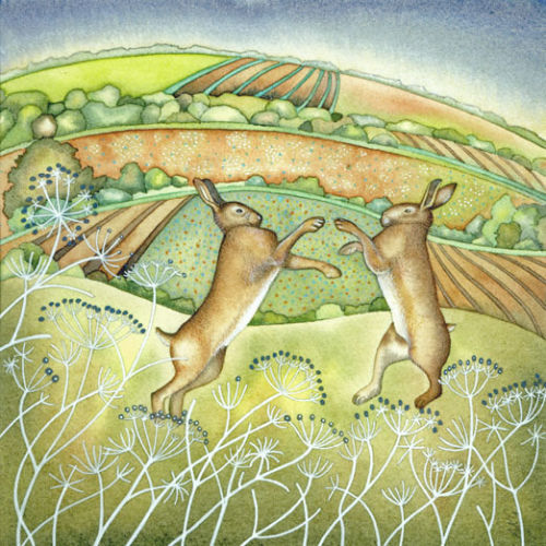 Boxing Hares (print and card)