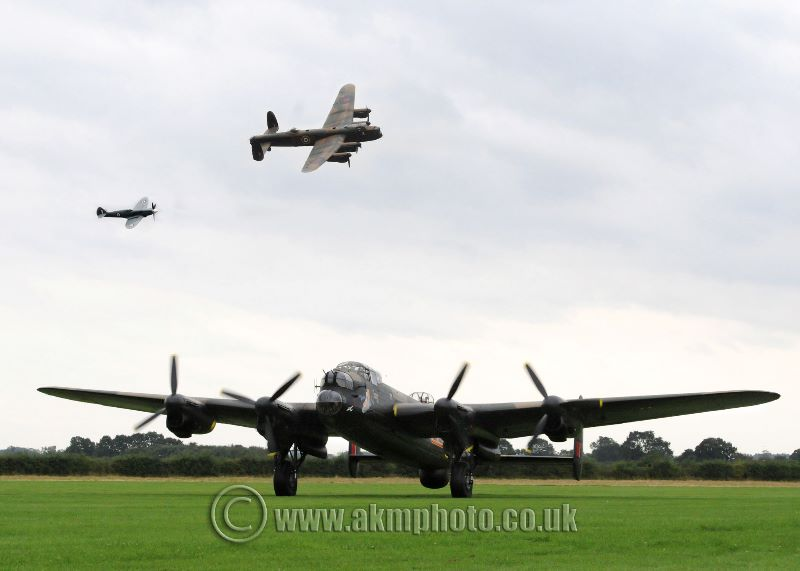 City of Lincoln and Spitfire flying over Just Jane