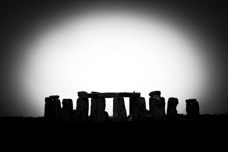 Stonehenge silhouette vignette