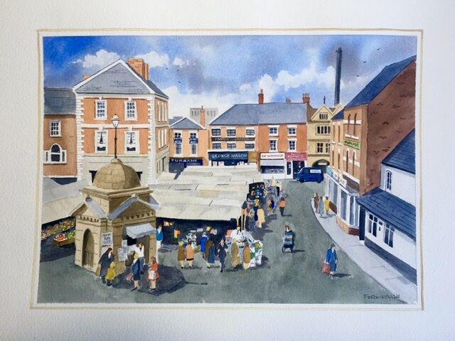 Market Day, Uttoxeter 14x10 watercolour