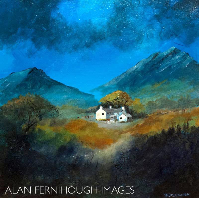 Welsh farmhouse in storm