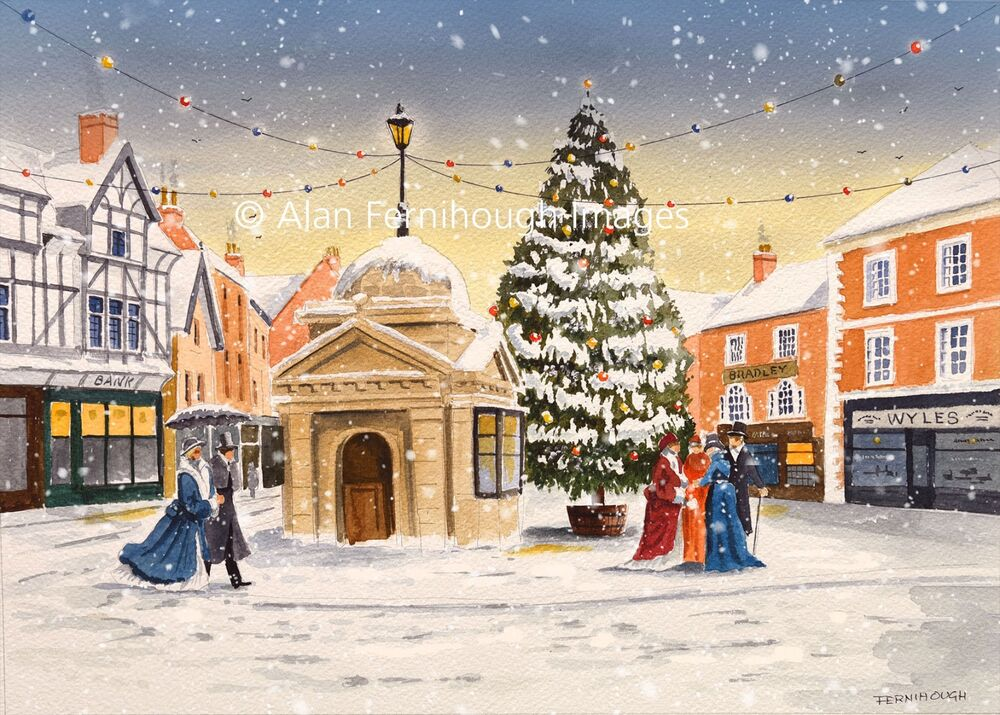 Uttoxeter market Place in winter