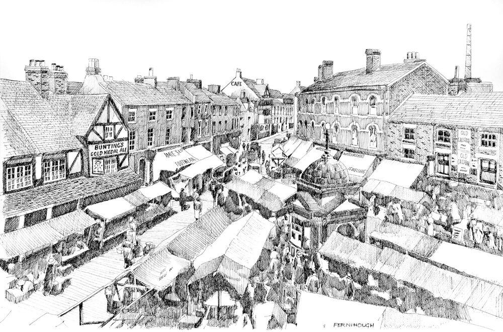 Uttoxeter Market Place overhead 1 line