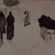 Alastair Lovett study for point de depart (pencil and wash on paper)