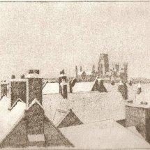 Durham snow (etching)