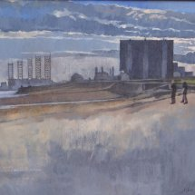 Power station twilight, oil on canvas, sold