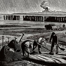 Sea coaling, Hartlepool (wood engraving, 8 x 6 inches)