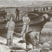 Sea coaling (early version with Steetley chimney, wood engraving 7 x 3.5 inches)
