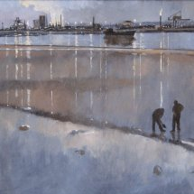 Teesmouth nocturne 1, oil on canvas, sold
