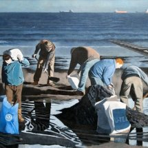 Working against the tide (2012, oil on linen, 36 x 24 inches, sold)
