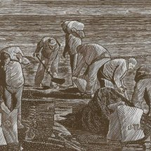 Working against the tide (wood engraving 8 X 5 inches)