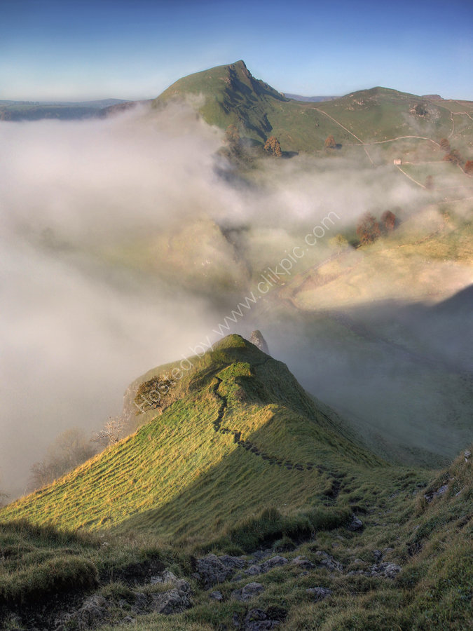 peak district photo.Chrome hill from parkhouse mist
