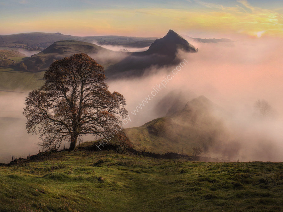 peak district photo.Parkhouse from Chrome hill mist