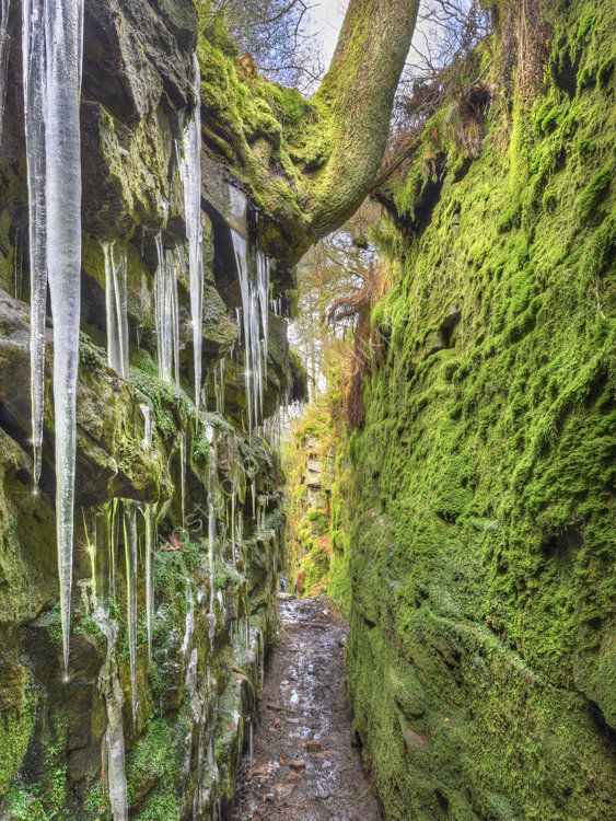 peak district photo Luds Chuch icicles