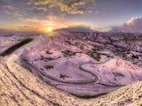 peak district photo mam tor road winter sunset