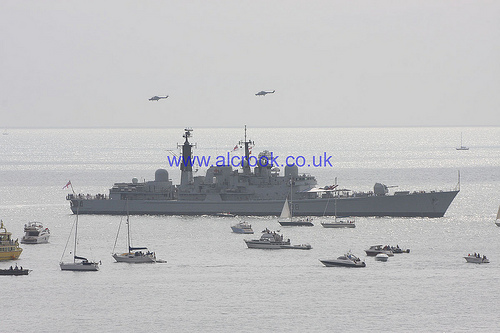 HMS York with The Black Cats helicopter display team