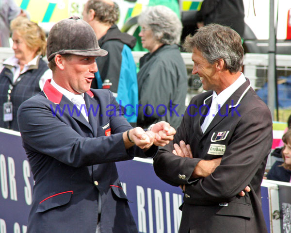 Oliver Townend explains to Andrew Nicholson how he survived