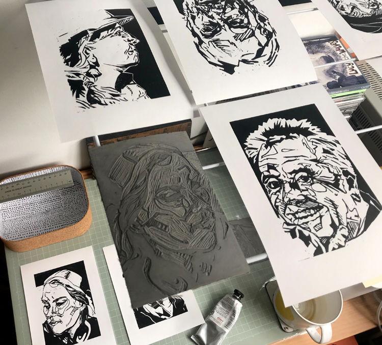 AG 21 Lino prints drying on rack 750px