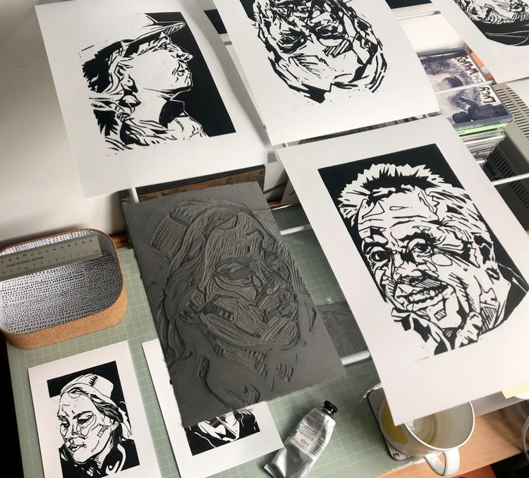 Lino printing process - portraits of the Five Deeps Expedition crew