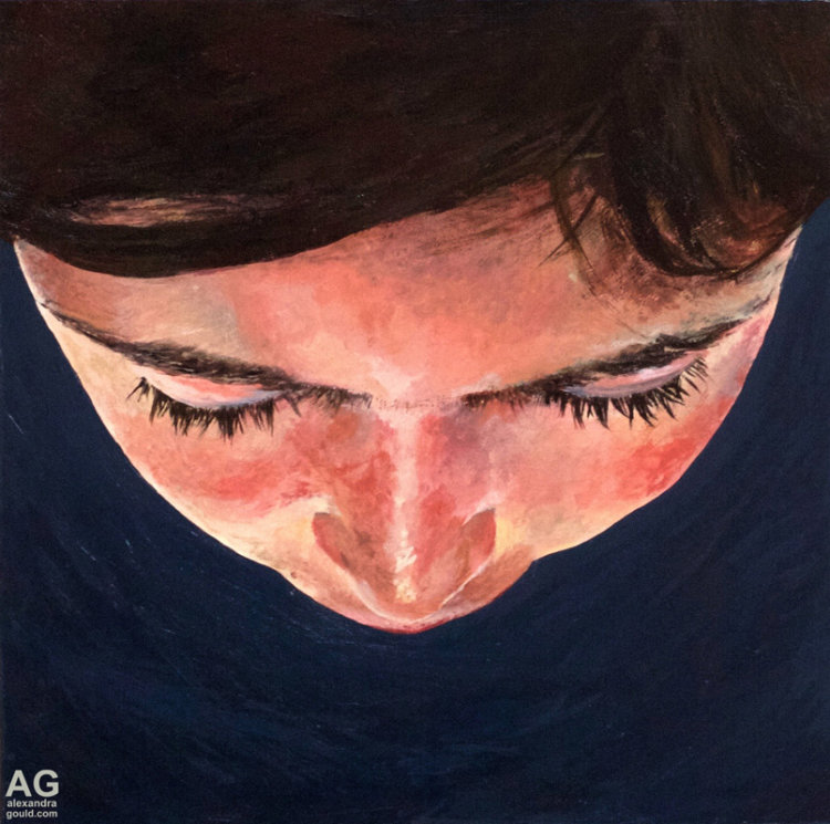 'Gravity' Painting of top of a girls head by Alexandra Gould