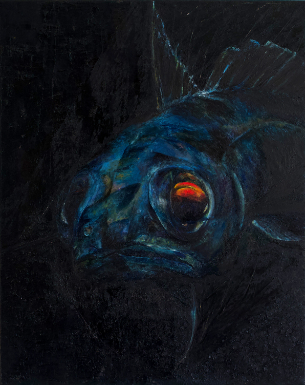 Oil painting of Mora Moro a Deep Sea Fish by Alexandra Gould