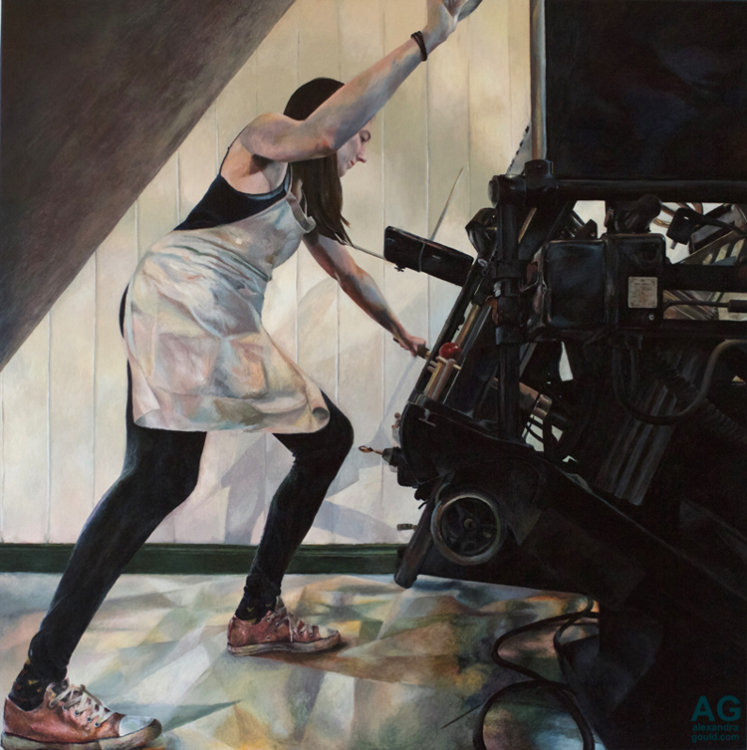 Painting of Suzanne and her Letterpress by Alexandra Gould