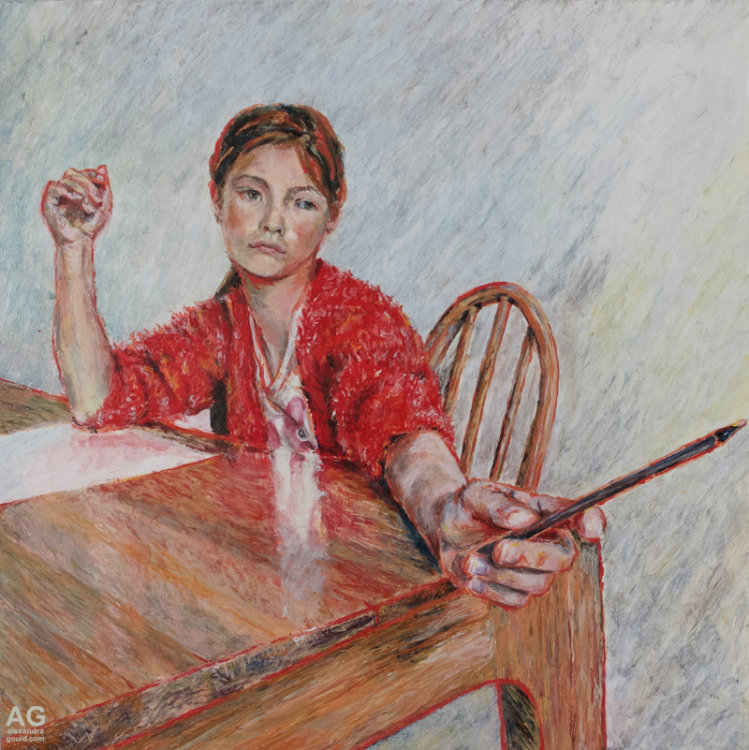 Painting of Girl at a desk by Alexandra Gould