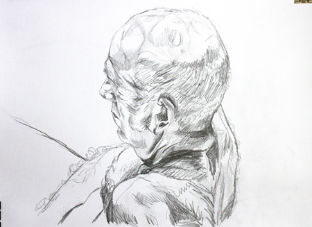 Life Drawing of man's head by Alexandra Gould