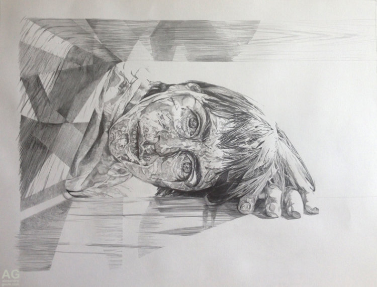 Self portrait in pencil by Alex Gould