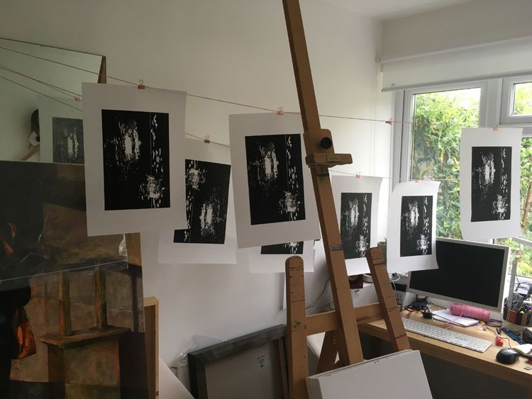 Print drying in the studio