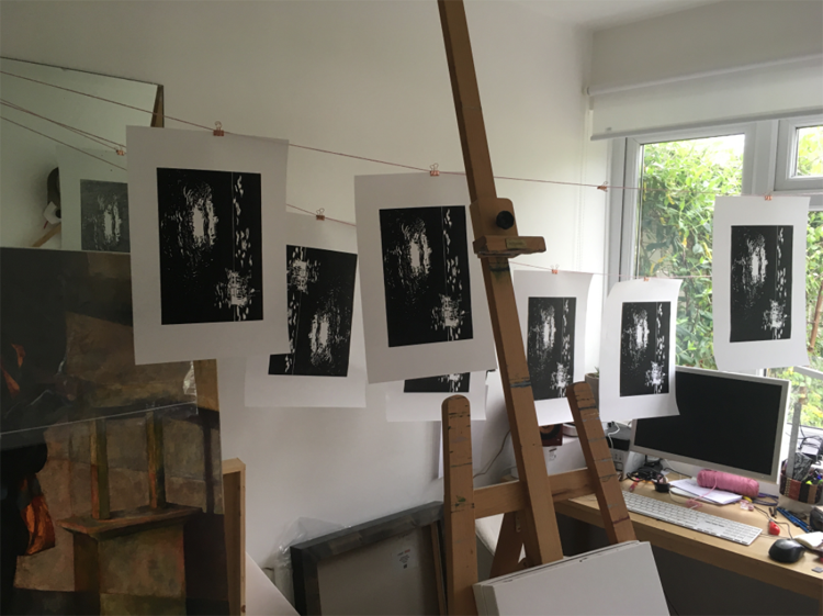 JBA Lino prints drying on string
