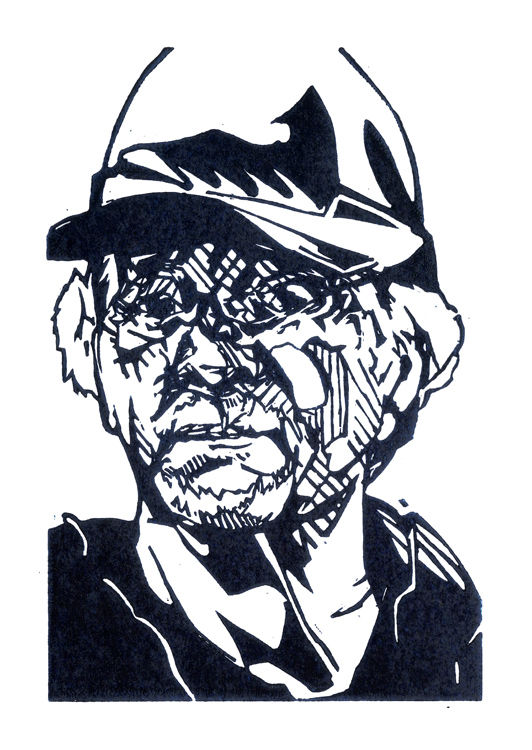 Lino print of the safety advisor on the Five Deeps Expedition