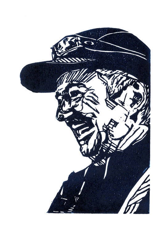 Lino print in Prussian Blue ink of the Expedition Leader