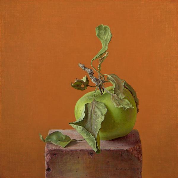 Green Apple on a Brick