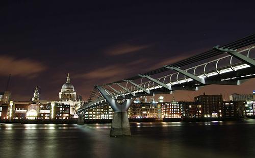 The Millennium Bridge & St Pauls At Night