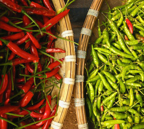 Read and green chillies